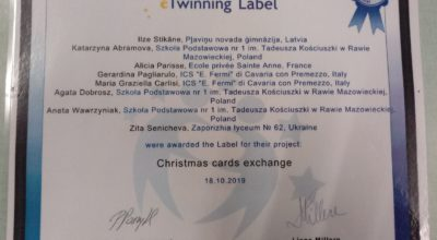 CONCLUSIONE DEL PROGETTO eTWINNING CHRISTMAS CARDS EXCHANGE
